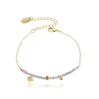Bracelet Perles Gris et Rose Chaine Or