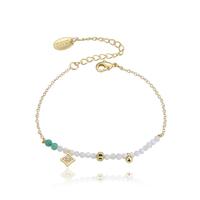 Bracelet Perles Blanc et Turquoise Chaine Or