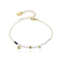 Bracelet Perles Blanc et Noir Chaine Or