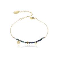 Bracelet Perles Bleu Foncé Chaine Or