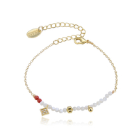Bracelet Perles Blanc et Rouge Chaine Or