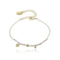 Bracelet Perles Nacre et Rose Chaine Or
