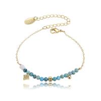 Bracelet Perles Bleu Chaine Or