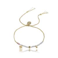 Bracelet Perles Gris et Rose