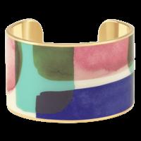 Bracelet Manchette Aqua Bleu Clematis Or