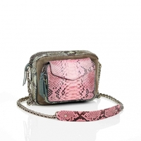 Sac Python Charly Tricolore Celadon Rose