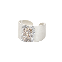 Bague Eclat M Email Diamanté Argent Blanc
