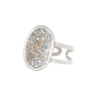Bague Eclat Ovale Email Diamanté Argent 925 Blanc
