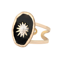 Bague Soleil Ovale Noir Email Diamanté Or