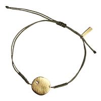 Bracelet Cordon Médaille Cristal Solitaire Or