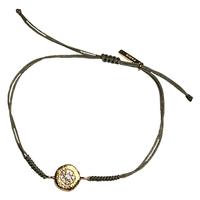 Bracelet Cordon Médaille Cristaux Pépite Or