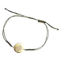Bracelet Cordon Médaille Cristaux Centre Or