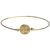 Bracelet Jonc Médaille Cristaux Or