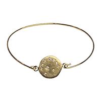 Bracelet Jonc Médaille Cristaux Lune Or