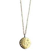 Collier Sautoir Médaille Cristaux Lune Or