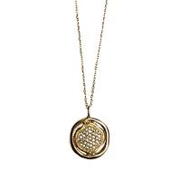 Collier Sautoir Médaille Double Cristaux Or