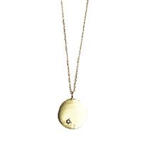 Collier Médaille Cristal Noir Solitaire Or