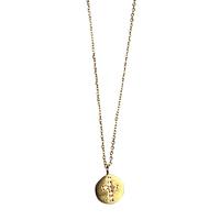 Collier Médaille Cristaux Croix Or
