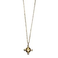Collier Médaille Cristaux Amulette Or