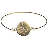 Bracelet Jonc Médaille Cristaux Comète Or