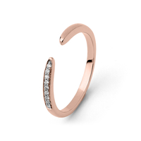 Bague Ouverte Diamants Or Rose