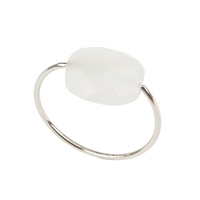 Bague Friandise Or Blanc Agate Blanche