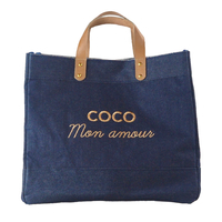 Sac Cabas Le Mademoiselle, Coco Mon Amour, Denim Broderie Or