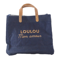 Sac Cabas Le Mademoiselle, Loulou Mon Amour, Denim Broderie Or
