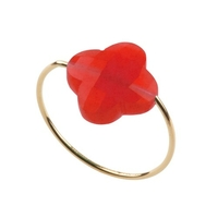 Bague Friandise Or Jaune Quartz Rouge