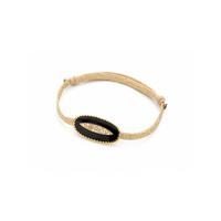 Bracelet Cordon Grande Goutte émaillé Noir