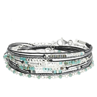 Bracelet Multi Tours Chaine Pierres Vertes Argent