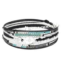 Bracelet Multi Tours Rose des Vents Noir/ Vert Argent
