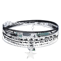 Bracelet Multi Tours Etoile Noir/ Vert Argent