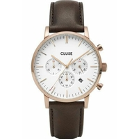 Aravis Chrono Leather Rose Gold White, Dark Brown