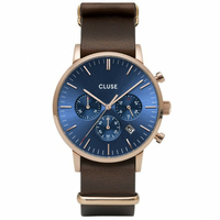 Aravis Chrono Leather Rose Gold Dark Blue, Dark Brown