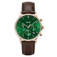 Aravis Chrono Leather Rose Gold Green, Dark Brown