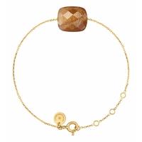 Bracelet Chaine Or Jaune Coussin Pierre de Soleil Oversize