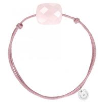 Bracelet Cordon Rose Coussin Quartz Rose Poudre Oversize