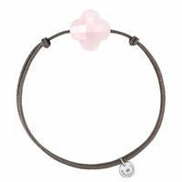 Bracelet Cordon Taupe Trèfle Quartz Rose Poudre