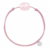 Bracelet Cordon Rose Coussin Quartz Rose Poudre