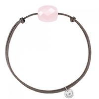 Bracelet Cordon Taupe Coussin Quartz Rose Poudre