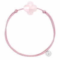 Bracelet Cordon Rose Trèfle Quartz Rose Poudre