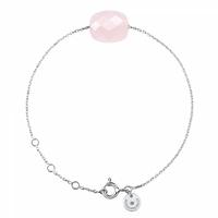 Bracelet Chaine Or Blanc Coussin Quartz Rose Poudre