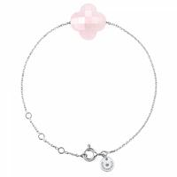 Bracelet Chaine Or Blanc Trèfle Quartz Rose Poudre