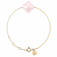 Bracelet Or Jaune Trèfle Quartz Rose Poudre