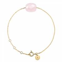 Bracelet Or Jaune Friandise Coussin Quartz Rose Poudre
