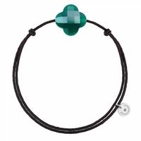 Bracelet Cordon Noir Trèfle Agate Verte