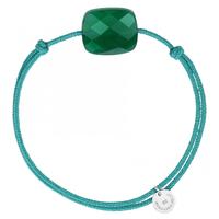 Bracelet Cordon Friandise Coussin Agate verte Oversize