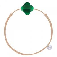 Bracelet Cordon Taupe Trèfle Agate Verte