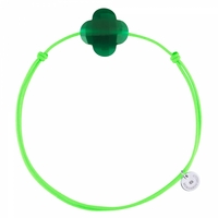 Bracelet Cordon Vert Trèfle Agate Verte